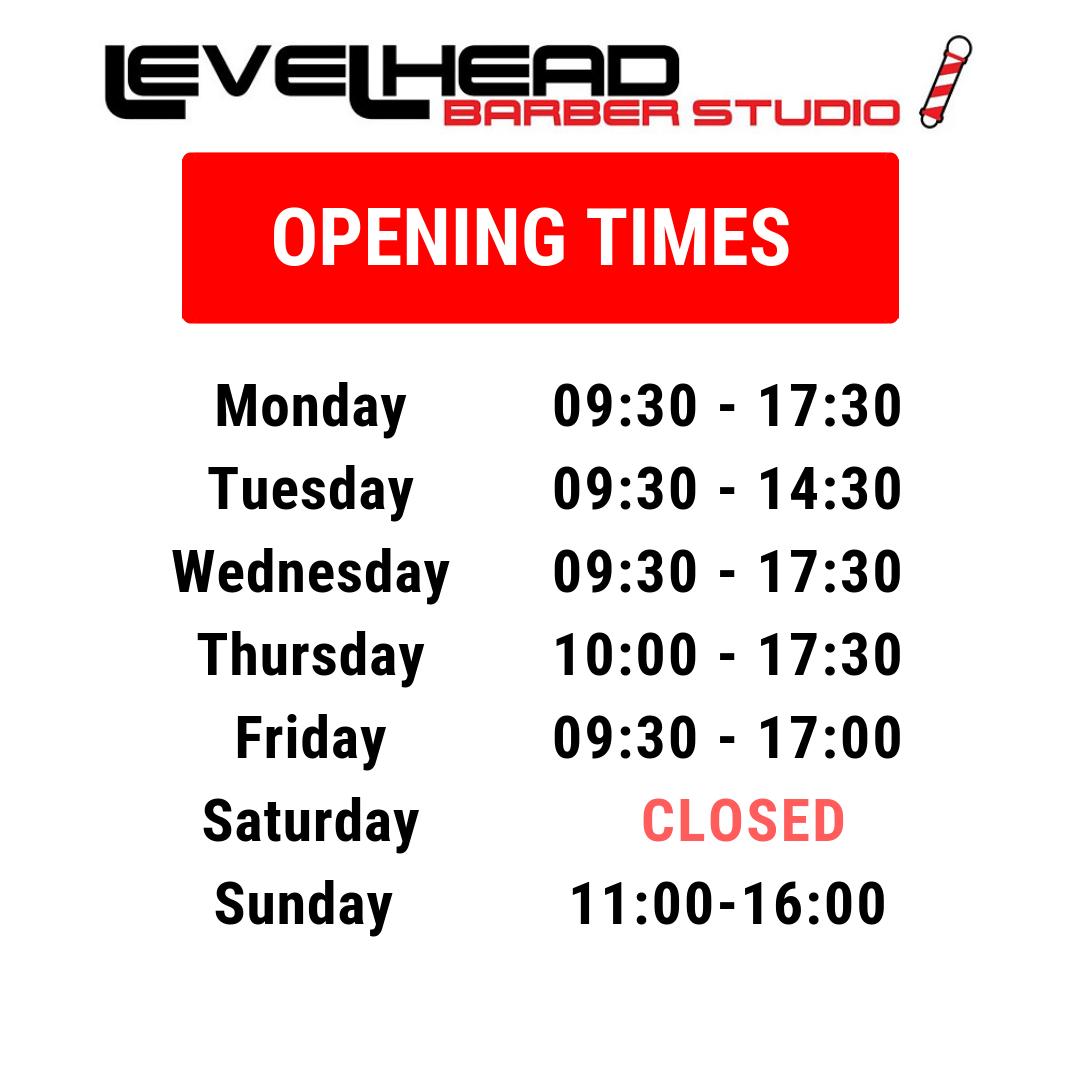 Levelhead barber studio Opening times Uxbridge